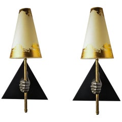 Pair of Vintage Wall Lamps in the Manner of Arbus