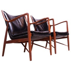 "Pair of Vintage Walnut and Leather ""45"" Lounge Chairs by Finn Juhl for Baker"