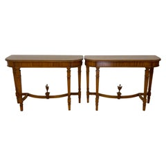 Pair of Vintage Walnut Demi Lune Console Tables, C.1940