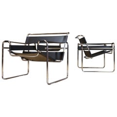 Pair of Vintage Wassily B3 Black Leather and Chrome Chairs Marcel Breuer