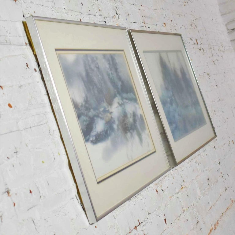 Pair of Vintage Watercolor Winter Landscape Paintings by Dorothy M. Reece Kordas For Sale 3