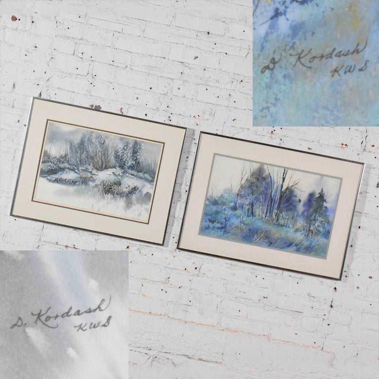 Pair of Vintage Watercolor Winter Landscape Paintings by Dorothy M. Reece Kordas For Sale 5