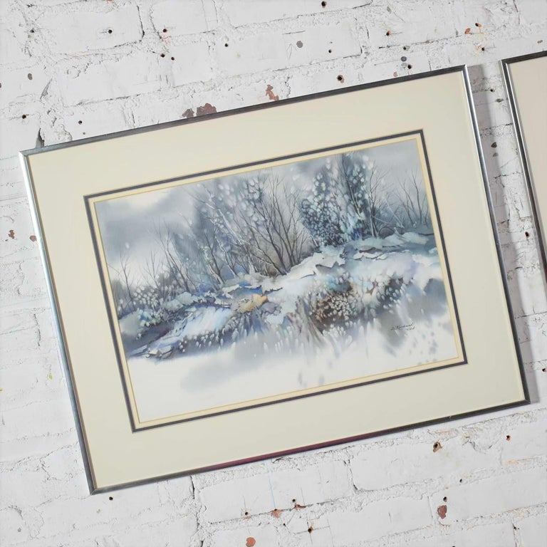 Pair of Vintage Watercolor Winter Landscape Paintings by Dorothy M. Reece Kordas For Sale 6
