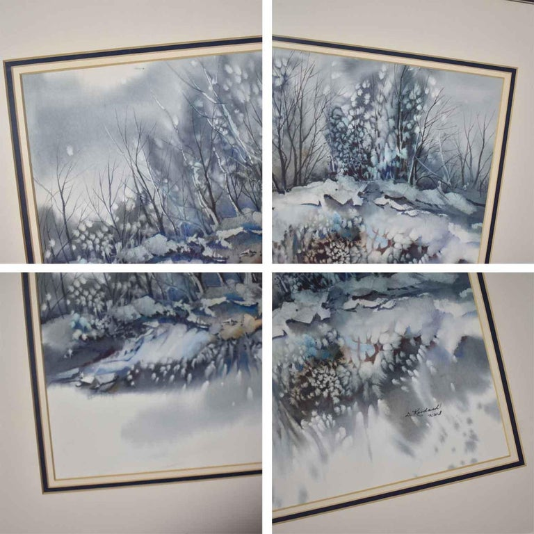 Pair of Vintage Watercolor Winter Landscape Paintings by Dorothy M. Reece Kordas For Sale 7