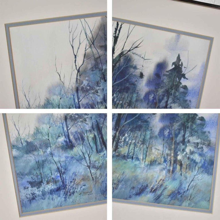 Pair of Vintage Watercolor Winter Landscape Paintings by Dorothy M. Reece Kordas For Sale 9