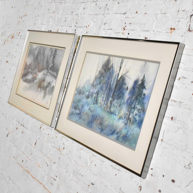 Modern Pair of Vintage Watercolor Winter Landscape Paintings by Dorothy M. Reece Kordas For Sale
