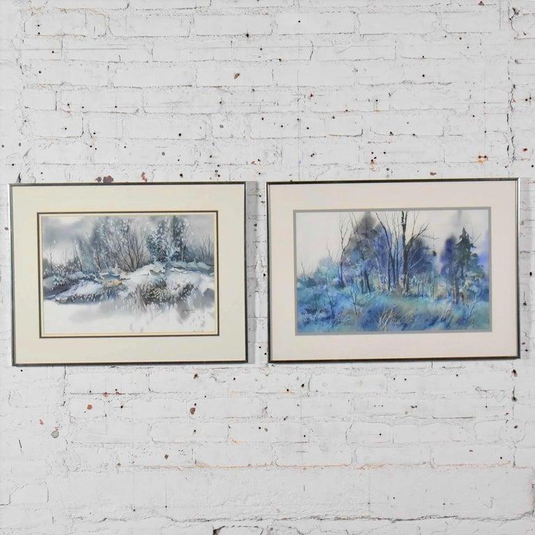 American Pair of Vintage Watercolor Winter Landscape Paintings by Dorothy M. Reece Kordas For Sale