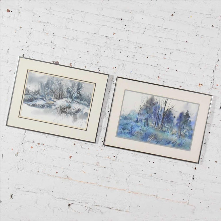 Pair of Vintage Watercolor Winter Landscape Paintings by Dorothy M. Reece Kordas In Good Condition For Sale In Topeka, KS