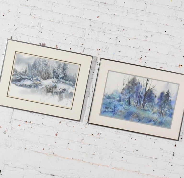 20th Century Pair of Vintage Watercolor Winter Landscape Paintings by Dorothy M. Reece Kordas For Sale