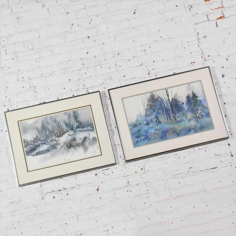 Paper Pair of Vintage Watercolor Winter Landscape Paintings by Dorothy M. Reece Kordas For Sale