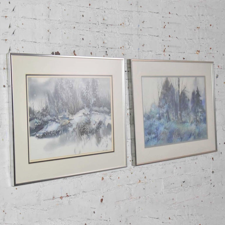 Pair of Vintage Watercolor Winter Landscape Paintings by Dorothy M. Reece Kordas For Sale 1
