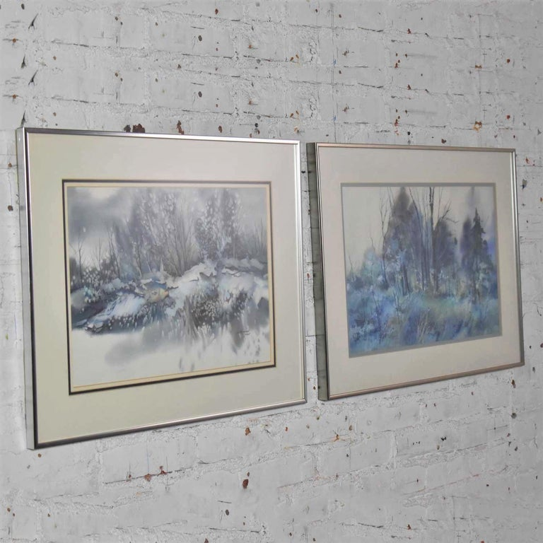 Pair of Vintage Watercolor Winter Landscape Paintings by Dorothy M. Reece Kordas For Sale 2