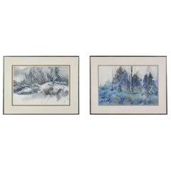 Pair of Vintage Watercolor Winter Landscape Paintings by Dorothy M. Reece Kordas