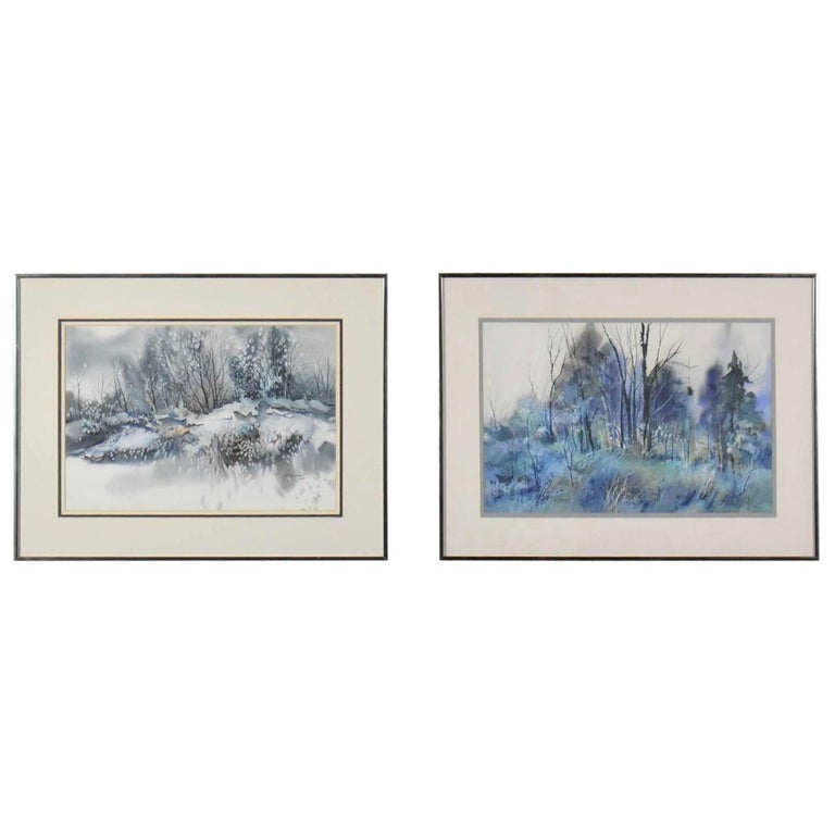 Pair of Vintage Watercolor Winter Landscape Paintings by Dorothy M. Reece Kordas For Sale