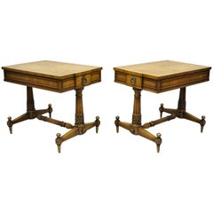 Pair of Vintage Weiman Kameo French Regency Style Bonded Walnut End Tables