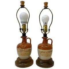 "Pair of Vintage ""Whiskey of Ye Monks"" Ceramic Bottle Table Lamps 20th C."
