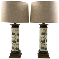 Pair of Vintage White Glass and Hand Painted Table Lamps with Gilding, Re Wired