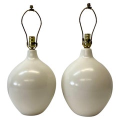 Pair of Lotte & Gunnar Bostlund Egg Shell Glazed Ceramic Table Lamps