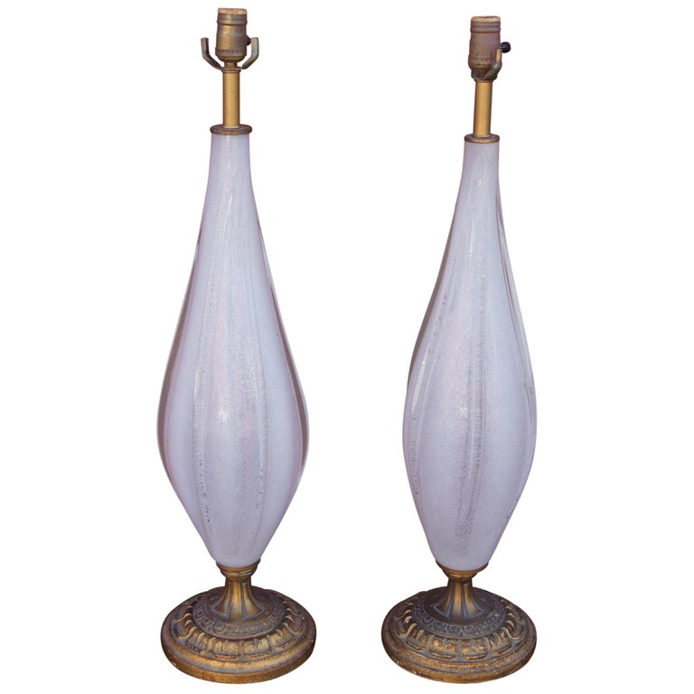 Pair of Vintage White Murano Glass Table Lamps For Sale