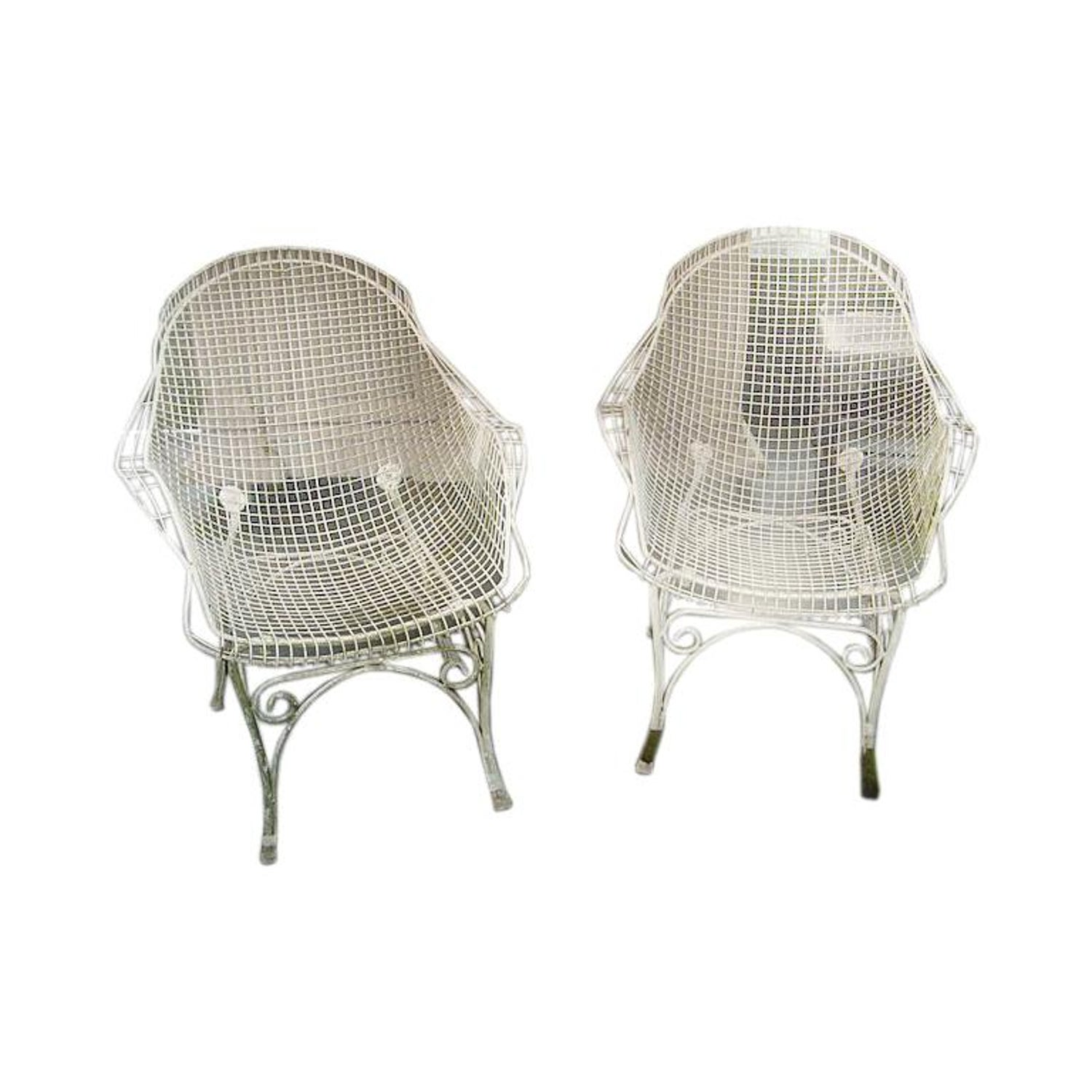 Pair Of Vintage White Wire Mesh Garden Chairs France C 1960s For At 1stdibs