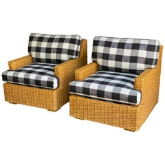 Pair of Vintage Wicker Lounge Chairs, Newly Upholstered