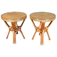 Pair of Vintage Wicker Side Tables