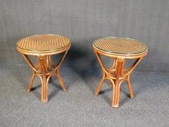 Pair of Vintage Wicker Side Tables