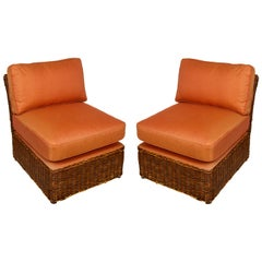 Pair of Vintage Wicker Slipper Chairs