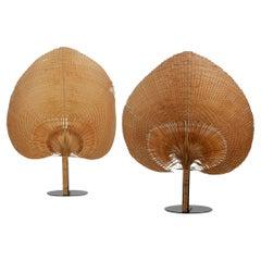Pair of Vintage Wicker Uchiwa Fan Table Lamps