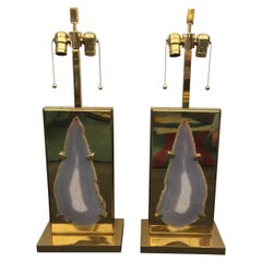 Pair of Vintage Willy Daro Style Agate and Brass Table Lamps