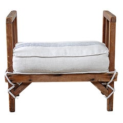 Pair of Vintage Wood Benches with Custom Linen Grain Sack Cushions