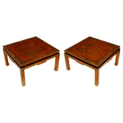 Pair of Vintage Wood Chinese Michael Taylor for Baker Style Low Tables