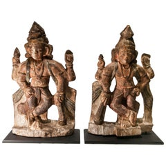Pair of Vintage Wood Guardian Statues from India Early 20th Century, Jaya-Vijaya