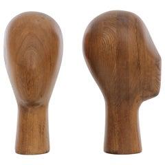 Pair of Vintage Wood Mannequin Head