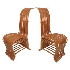 Pair of Vintage Wood-Slat Chairs