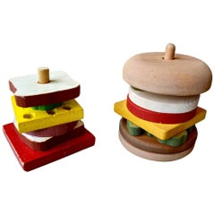 Pair of Vintage Wood Stacking Toys