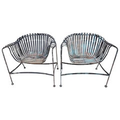 Pair of Vintage Woodard Wrought Iron Chairs in Style of Francois Carre