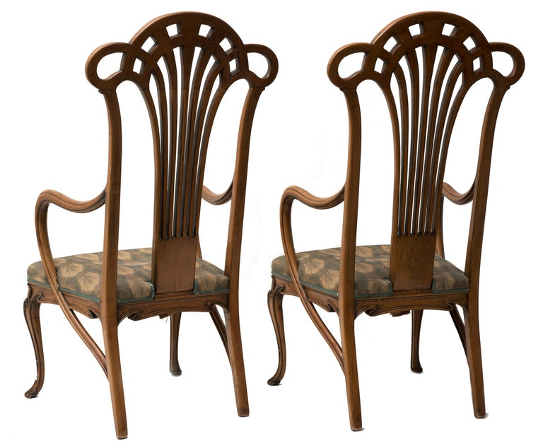 Art Nouveau Pair of Vintage Wooden Liberty Armchairs, 19th-20th Century For Sale