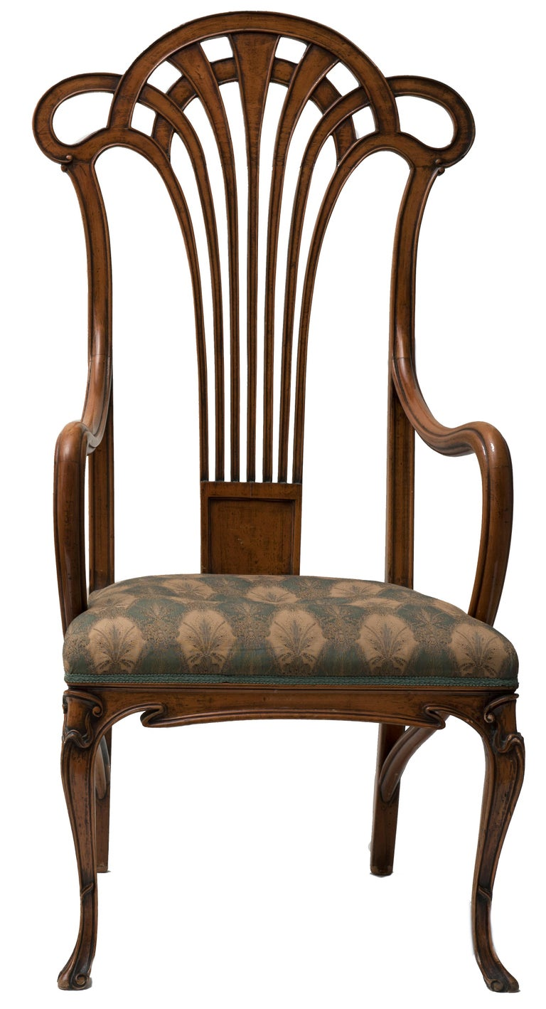 French Pair of Vintage Wooden Liberty Armchairs, 19th-20th Century For Sale