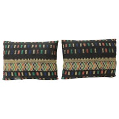 Pair of Vintage Woven Colorful Laos Woven Silk Decorative Bolster Pillows