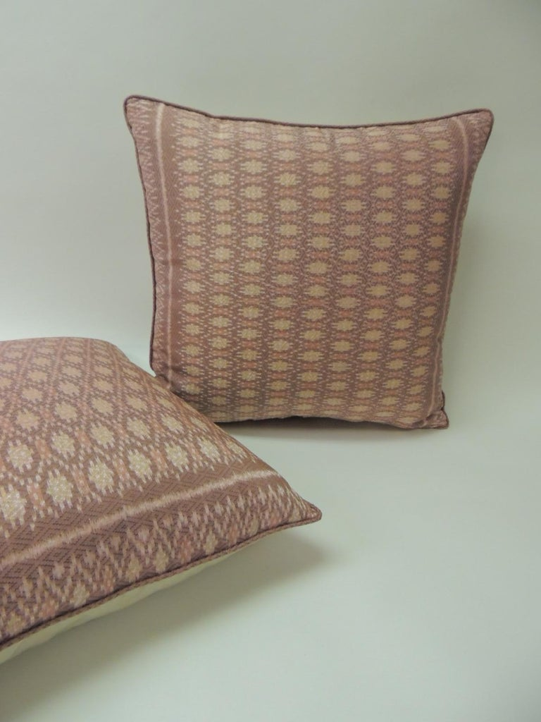 Tribal Pair of Vintage Woven Pink Silk Ikat Decorative Square Pillows For Sale