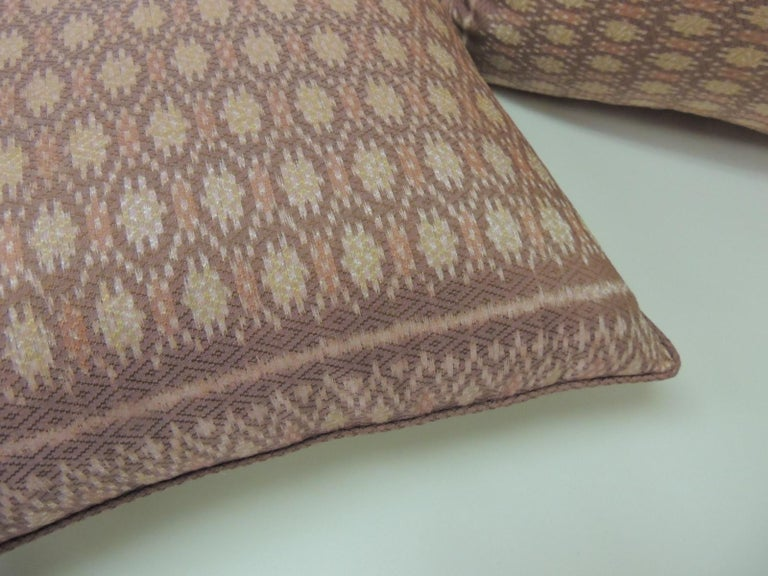 Laotian Pair of Vintage Woven Pink Silk Ikat Decorative Square Pillows For Sale