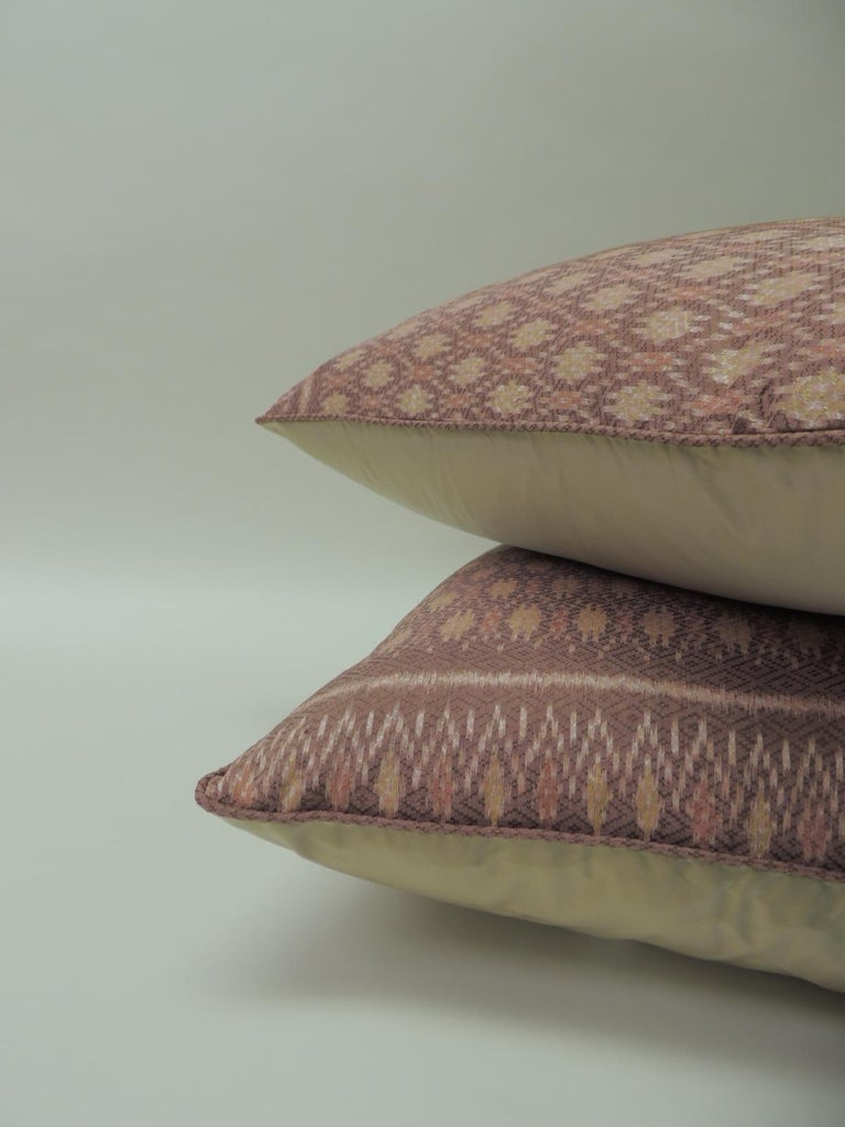 Hand-Crafted Pair of Vintage Woven Pink Silk Ikat Decorative Square Pillows For Sale