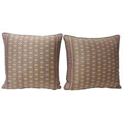 Pair of Vintage Woven Pink Silk Ikat Decorative Square Pillows
