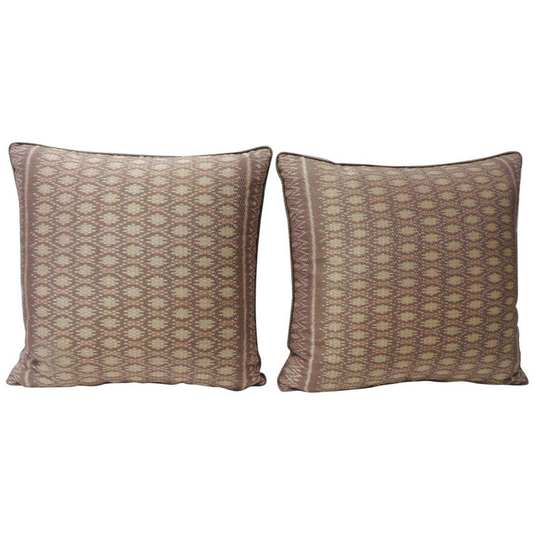 Pair of Vintage Woven Pink Silk Ikat Decorative Square Pillows For Sale