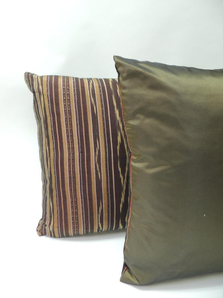 Pair Of Vintage Woven Purple And Yellow Silk Ikat Decorative Square Pillows