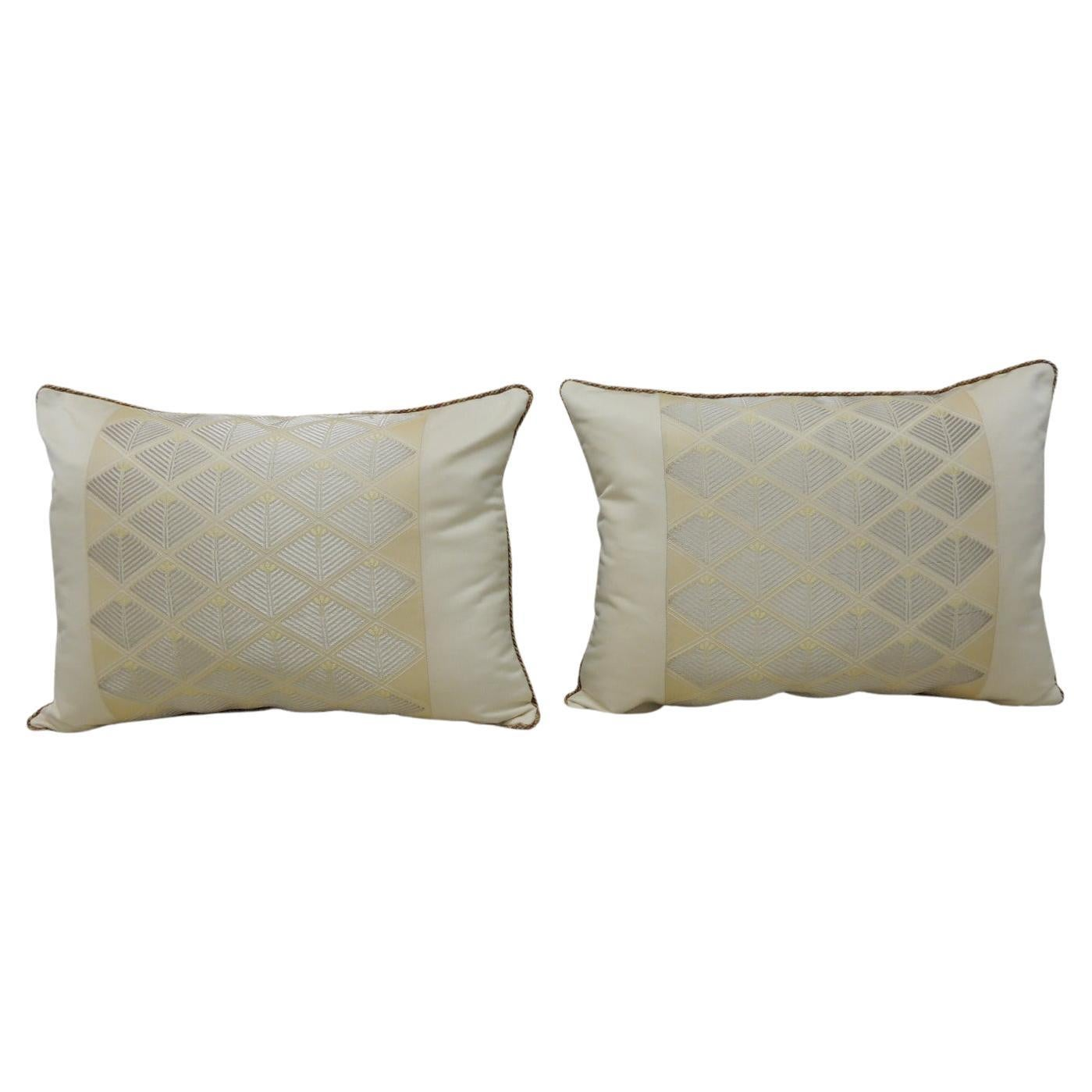 Pair of Vintage Woven Silk Gold and Silver Obi Bolsters Decorative Pillows