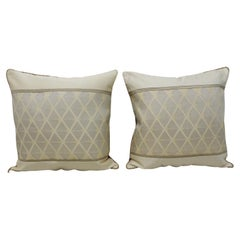 Pair of Vintage Woven Silk Gold and Silver Obi Square Decorative Pillows