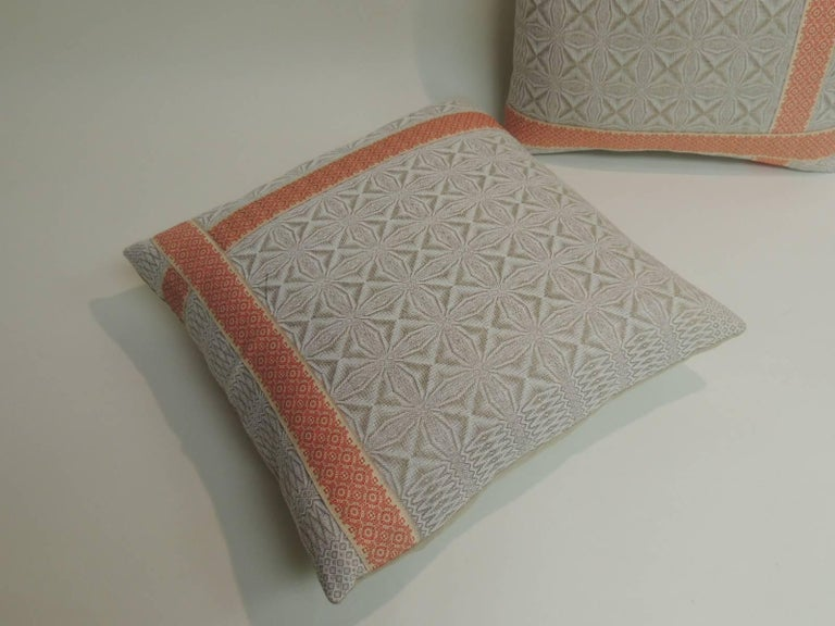 Aesthetic Movement Pair of Vintage Woven Swedish Decorative Pillows with Ribbon Accents For Sale