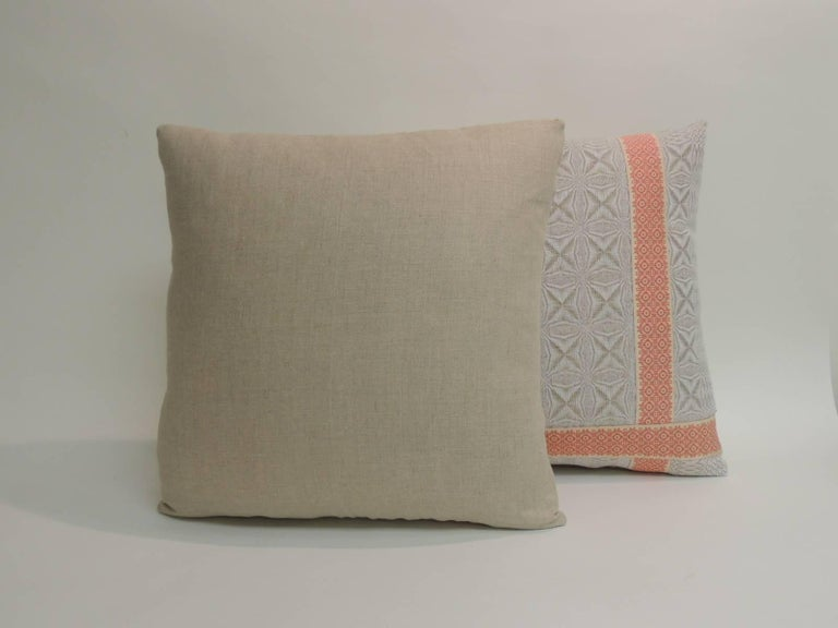 Hand-Crafted Pair of Vintage Woven Swedish Decorative Pillows with Ribbon Accents For Sale